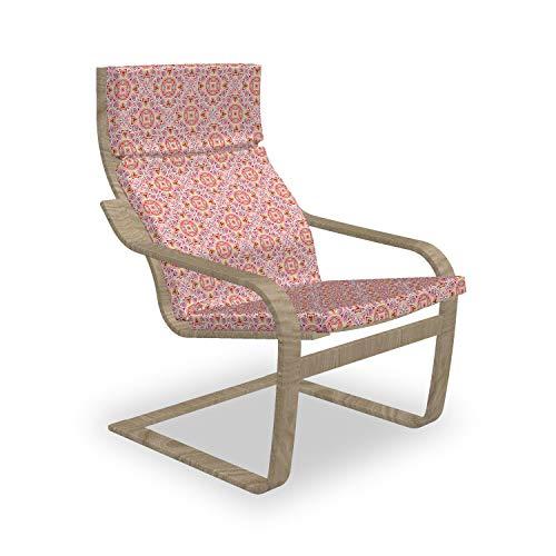 ABAKUHAUS marokkanisch Poäng Sessel Polster, Leuchtende Farben Filigrane, Sitzkissen mit Stuhlkissen mit Hakenschlaufe und Reißverschluss, Mehrfarbig