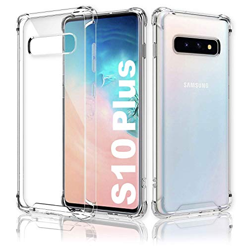 CT-HEXAGON® kompatibel Samsung Galaxy S10 Plus Hülle Silikon - Transparent - Stoßfest - Dünn - Verstärkte Ecken