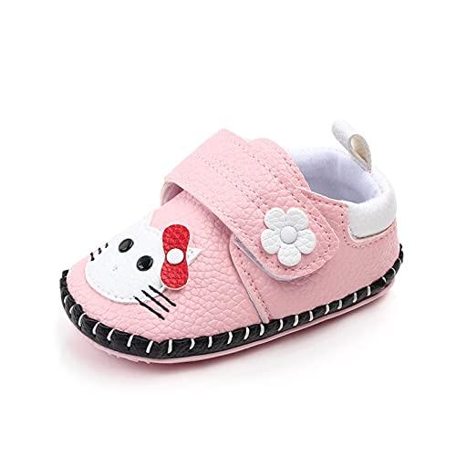 GUOQUN-SHOP Plataforma Unisex bebé Newborn Baby Girls Animal Cat Pattern PU Zapatos Infantil Casual Soft Soft Sole Suela Antideslizante Primeros Caminantes Zapato (Color : Pink, Shoe Size : 12)