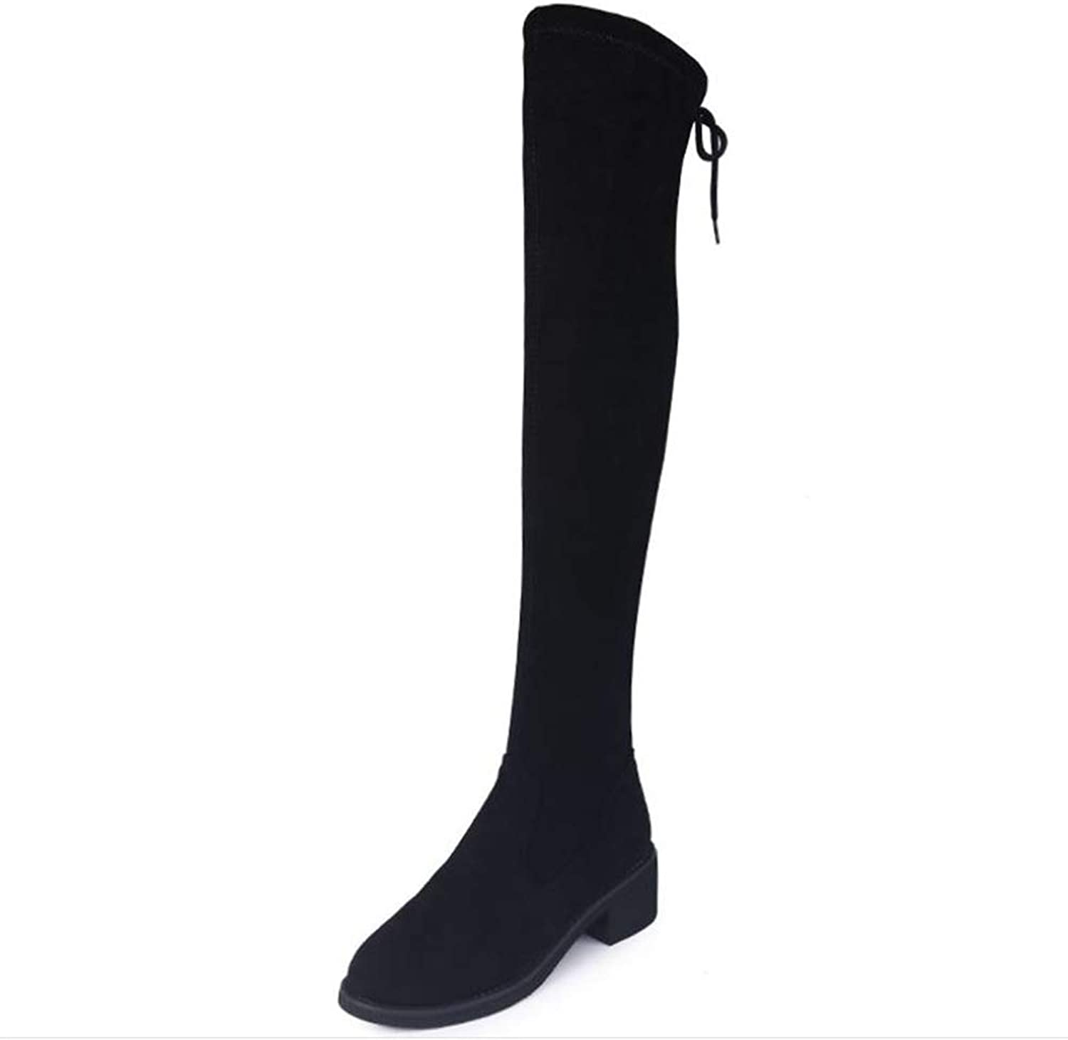 Gusha Winter Boots, Women's Stretch Over The Knee Boots, Thick Boots, Casual Party