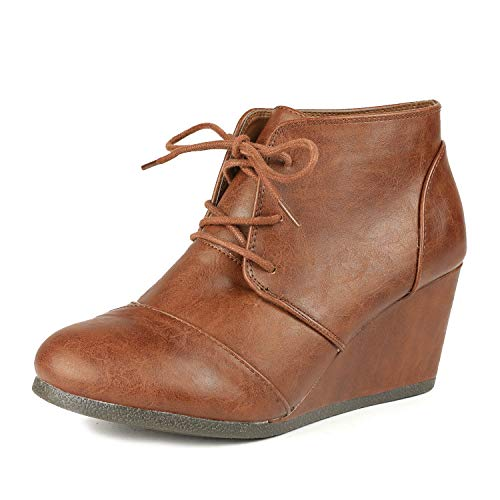 DREAM PAIRS Tomson Women's Casual Fashion Outdoor Lace Up Low Wedge Heel Booties Shoes Tan Pu Size 9.5 B(M) Us