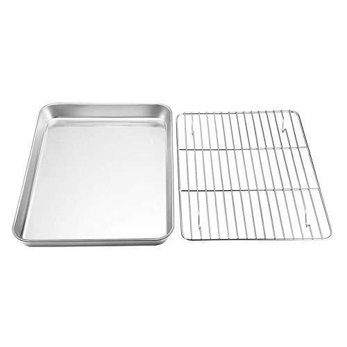 Gaosu Baking Sheet and Rack Set, Stainless Steel Cookie Sheet Tray, Half Sheet Pan, Baking Tool, BBQ Rack Pan, Cooling Rack(4)