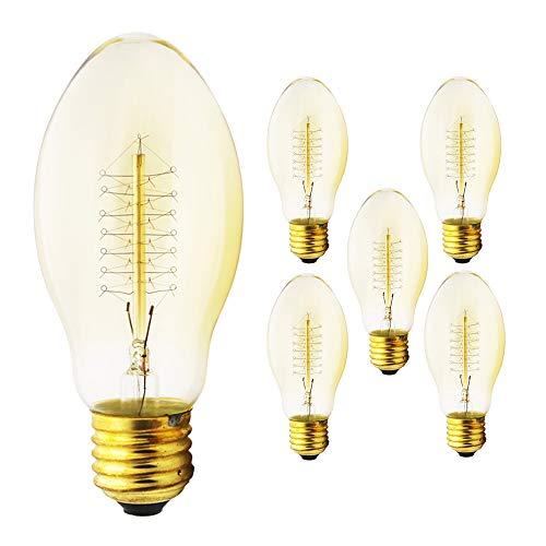 Ampoule Edison 40 W - Style industriel rétro - Ampoule décorative - Radio 55 mm - Intensité variable - 220 V (5 x blanc chaud)