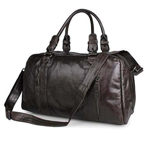 Y&MoD Voyage Casual Duffel Bag en Cuir Hommes Weekend Sacs À Main Big Large Épaule Messenger Bag Fourre-Tout Sport Gym Randonnée Sacs-Noir 46x23x28cm A/Dark Gray