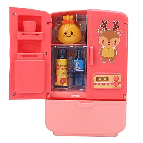 Mini Frigorifero Giocattolo, modalità a Doppia Porta Piccolo Giocattolo da Chef per più di 3 Anni per Regalo per Bambini per Giocattolo per Bambini(Rosa)