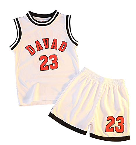 Davad # 23 Top und Shorts 2-teiliges Set für Basketballtrikots, ärmellose Sportoberteile für Kinder T-Shirt Sportswear Westentraining für Jungen Mädchen-White-120