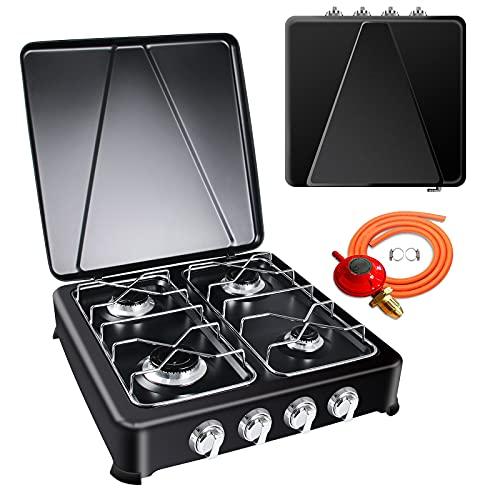 Cocina de Gas Portátil 4 Fuego Hornillo de Camping Portátil y Compacto, Potencia 6500 W Hornillo Para Acampada Con regulador y manguera Hornillo a Gas Butano Propano para Garden 50X50x14CM (Negro)