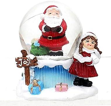 Dekohelden24 Boule à neige avec Père Noël, dimensions H/L/Ø boule : env. 6,8 x 6 cm/Ø 4,5 cm.