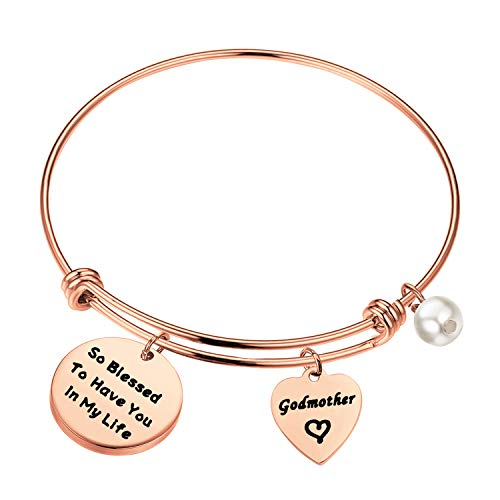 LQRI Godmother Gifts Godmother Bracelet So Blessed to Have You In My Life Expandable Wire Bangle Religious Jewelry Baptism Gift (Rose Gold)