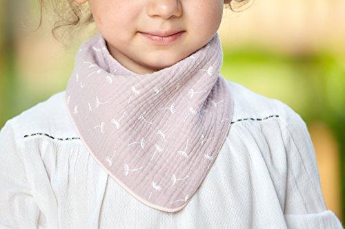 KraftKids Dreieckstuch in Musselin rosa Pusteblumen, Dreiecksschal für 34 cm Halsumfang, Kinder Halstuch mit Fleece Innenfutter