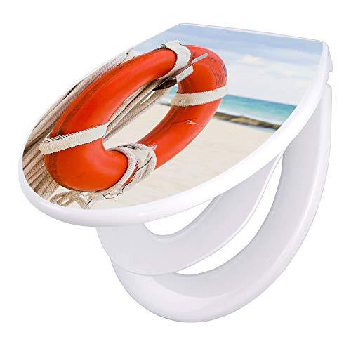 banjado Familien WC Sitz mit Absenkautomatik   Toilettendeckel mit Kindersitz   Klodeckel weiß   Toilettensitz mit Soft Close   44 x 37 cm WC Deckel mit Motiv Roter Rettungsring