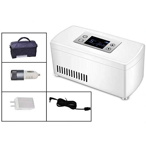 WHR-HARP Medikamente Kühlschrank, Tragbare Elektrische Kühlbox für Auto, InsulinküHler 2~8 ℃, LED-Anzeige, Kühlraum: 210 * 106 * 95mm für Auto/Reise/Heim - Mehrere Lademodi,Withoutbattery