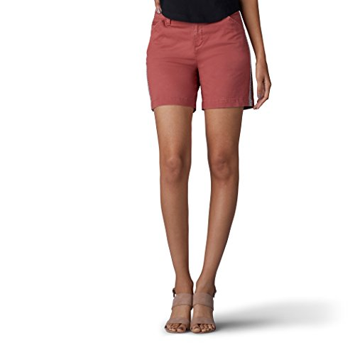 Lee Women's Straight Fit Tailored Chino Tuxedo Short, Vintage deep Rose, 18
