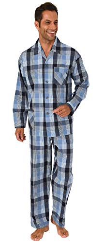 NORMANN-Wäschefabrik Herren Pyjama durchknöpfbar in edlem Gingham-Muster - 191 101 91 430, Farbe:Marine, Größe2:48