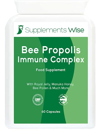 Bee Propolis Complex - 60 Capsules with Royal Jelly, Manuka Honey, Ginger - Immune System Booster - Natural Support - Supplement Enhanced with Copper, Iron, Selenium, Zinc, Folic Acid and Vitamins