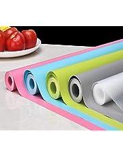 VNC Waterproof Anti-Slip & Anti-Skid Wardrobe Cupboard Shelf Liner Roll Fridge Mats Non-Adhesive Cabinet Mat for Kitchen Home Desks Dining Table Runner (Random Colour, 5 Meter, Pack of 1)