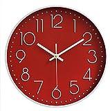 TOKTEK Orologio da Parete Moderno e Silenzioso Decorazione Facile da Leggere per Casa Ufficio Scuola Soggiorno Camera da Letto Cucina(Rosso-A)