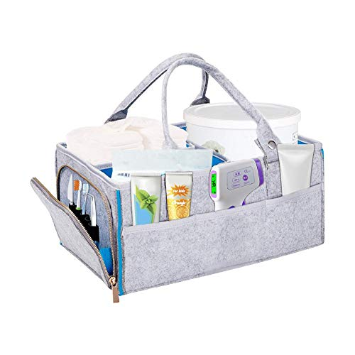 Sue-Supply Baby Luier Caddy Organizer - Draagbare Grote Luier Caddy Tote - Auto Reistas - Kwekerij Luier Caddy Opslag Bin - Grijs Vilt Mand Meisje Jongen - Pasgeboren Register Moet Hebben