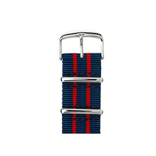 Roobaya | Premium Apple Watch NATO ORIGINAL Nylon-Armband in Dunkelblau/Rot/Rot | inklusive farblich auf die Apple Watch abgestimmter Adapter, Gehäusefarbe:Edelstahl (Series 1-6), Größe:38/40 mm