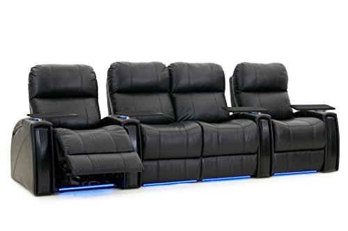 Octane Seating Nitro XL750 Home Stadium Seating - Black Leather - Power Recline - Row of 4 Seats with Middle Loveseat - Lighted Cup Holders - Storage Arms