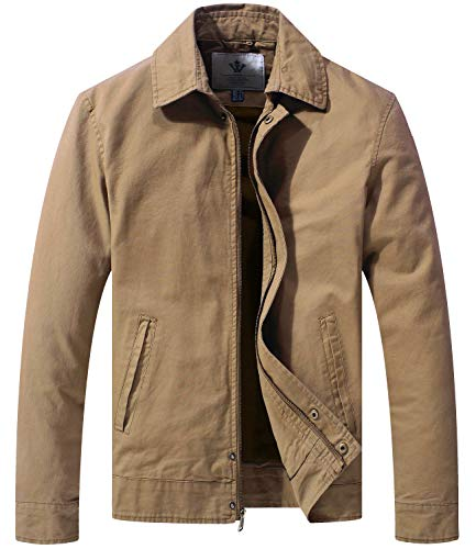 WenVen Men's Light Bomber Jacke Windbreaker Zip Work Jacket Khaki S