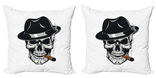 Ambesonne Skull Smoking Decorative Throw Pillow Case Pack of 2, Human Skeleton Head Portrait Wearing Fedora Hat and Cigar in his Mouth, Couch Bedroom Living Room Cushion Cover, 18', White Multicolor