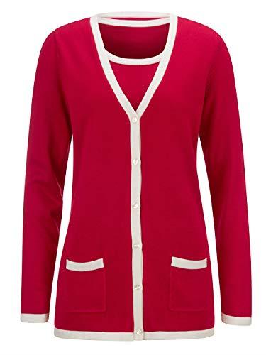 Paola Damen Twinset in Rot aus Baumwolle mit Kontrastabschlüssen