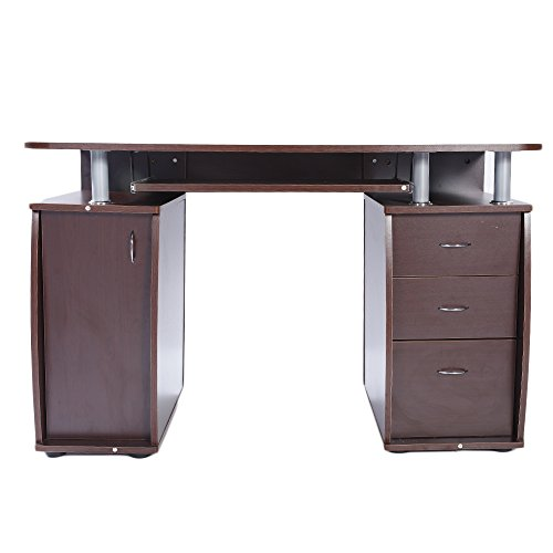 Zebery 15mm MDF Portable 1pc Door with 3pcs Drawers Computer Desk Coffee