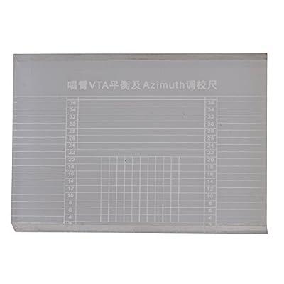 BQLZR 6.6x4.8x0.75cm Acrylic Crystal Vinyl Record Player Tonearm VTA Balance Turntable Cartridge Azimuth Ruler