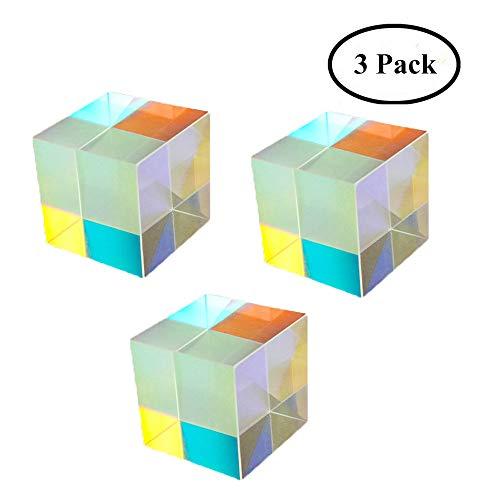 Yunhigh Optisches Glas Würfel Prisma Kunst Kristall Regenbogen Maker reflektierende Lichtspektrum Physik Foto Fotografie Prisma, 3er Pack