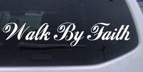 Rad Dezigns Walk by Faith Christian Car Window Wall Laptop Decal Sticker - White 8.5in X 1.6in