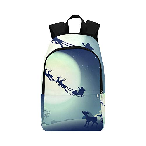 Santa Claus Sleigh Reindeer Sled On Casual Daypack Travel Bag College School Backpack for Mens and Women