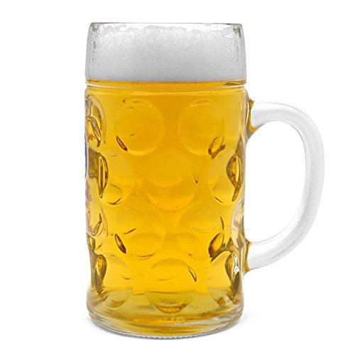 Oktoberfest Large 44 Oz Dimpled Glass Jumbo Beer Mug With Handle Glass Steins, Perfect For Coffee/Tea Glass, Everyday Drinking Glasses, Cocktail Glasses