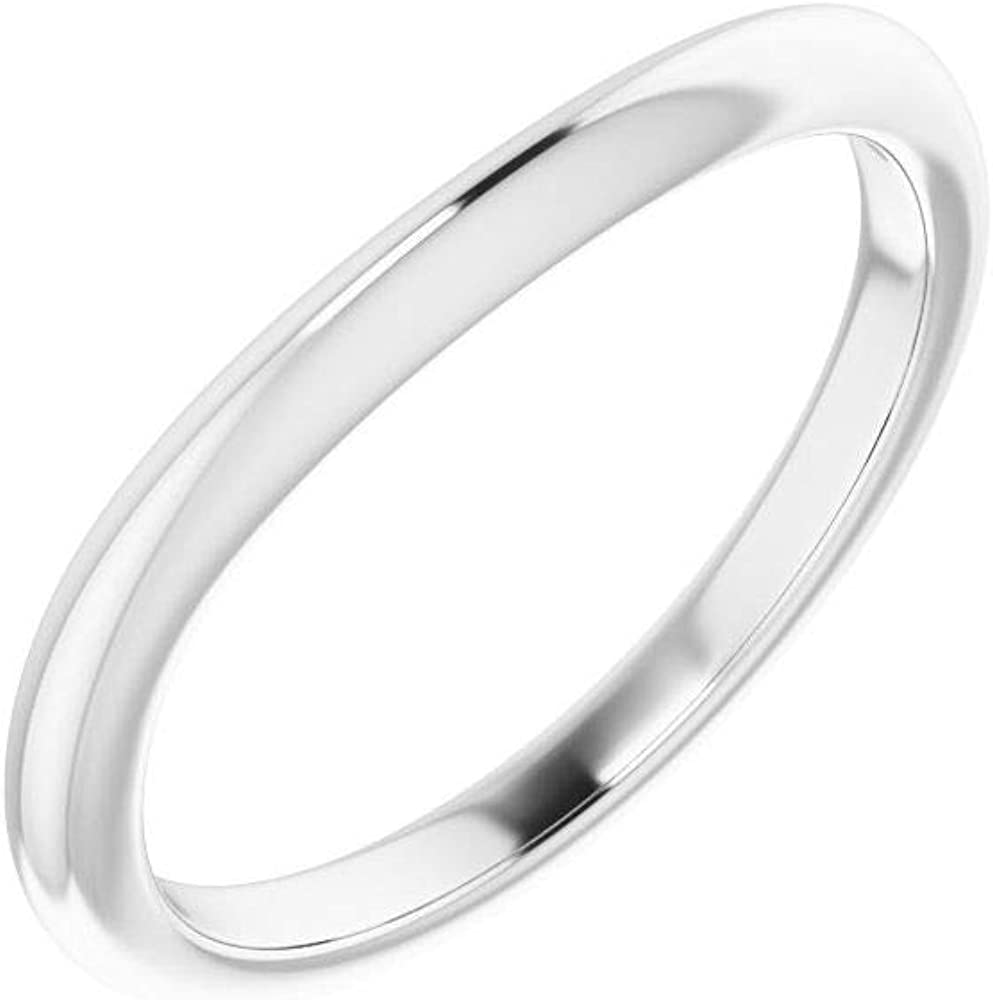Solid Platinum Curved Notched Wedding Band for 10mm Square Ring Guard Enhancer - Size 7