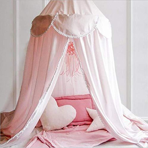 FGDSA Dosel de Cama Princess - Hermosos niños de Lentejuelas Plateadas en Blanco - Cama Individual, Rosa