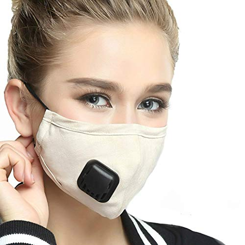 Face Mouth Masks, 5 Layers PM2.5 Activated Carbon Filter Insert Balaclavas for Cycling Running,Anti Pollution Reusable Dust Mask Women Beige