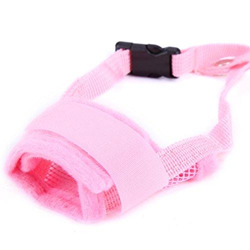 feiling Quick-fit Klettverschluss Hunde Maulkorb Verstellbare Bequem Anti-Beiß Maulkörbe Atmungsaktiv Anti-Bell Hundetraining Korb Mesh Dog Muzzle Anti-bark (L, pink)