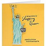 Sheepworld, Gruss und Co. - 90827 - Klappkarte, mit Umschlag, Quadratisch Schön, Nr. 39, Geburtstag, Birthday shopping Queen Herzlichen Glückwunsch