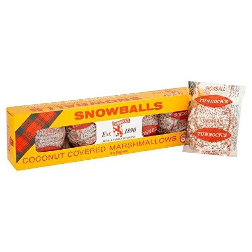 Tunnock\'s Snowballs 4x 30g (120g) - mit Kokosraspeln umhüllte Marshmallows