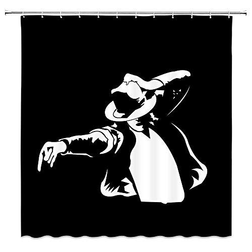 AdaCrazy Berühmte Porträt Michael Jackson tanzen schwarz & weiß dekorative Duschvorhang Mikrofaser Bad Duschvorhang modernes Bad Vorhang 71x71 Zoll Polyestergewebe