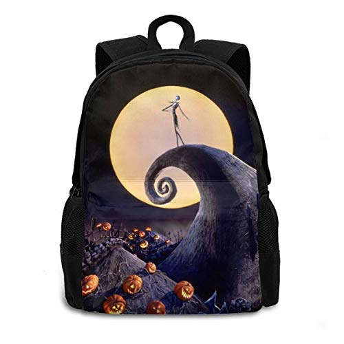 The Nightmare Before Christmas Laptop Backpack Durable Lightweight School Bookbag Casual Daypack Travel Hiking Camping College