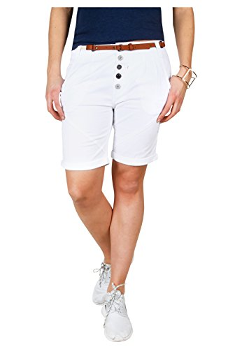Sublevel Damen Chino Bermuda Shorts mit Knopfleiste White XL