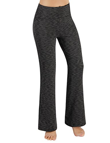 ODODOS Power Flex Boot-Cut Yoga Pants Tummy Control Workout Non See-Through Bootleg Yoga Pants,SpaceDyeCharcoal,X-Large