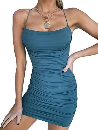 just quella Women Sexy Bodycon Party Dresses Backless Spaghetti Straps Clubwear Mini Dress (L, Teal) (Apparel)