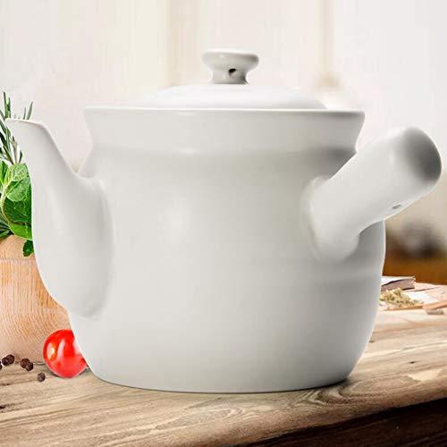 ZHIRCEKE Pote de Sopa de cerámica Tradicional, Tetera, marmite Chino de la Medicina de Hierbas, Cacerola hogareña, marmite con Mango Blanco del Cuero,1.3L