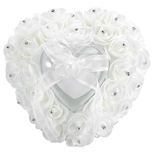 Viccilley Caja de Anillo Caja de Anillo de Boda romántica en Forma de corazón Caja de Anillo de decoración de Diamantes de imitación Rosa Almohada Cojín(Blanco)