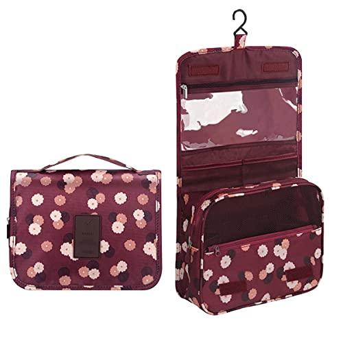 Beauty Case da Viaggio,Appeso Trousse da Toilette,Multi-compartimenti per Organizzare Oggetti Personali,Accessori(Wineflower)