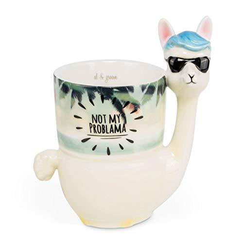 el & groove 3D Lama Cup Not My Problama, Tazza da caffè 400 ml (450 ml Fino all'orlo), Tazza da tè in Porcellana nel Beach Design Spiaggia, Occhiali da Sole Occhiali da Sole Alpaca, regaloco Natale