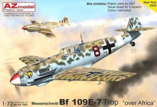 AZmodel 1/72 ドイツ空軍 メッサーシュミット Bf109E-7 アフリカ上空 プラモデル AZM7663