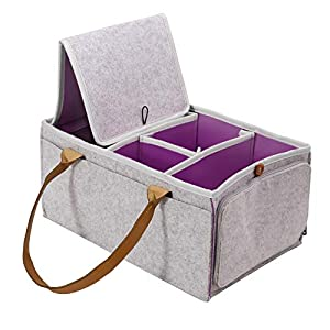 IVIL Baby Diaper Caddy Organizer – Portable Nursery Storage Basket with Removable Compartments for Changing Table and Car , Baby Shower Basket With Zipper Pocket (Grey Purple)